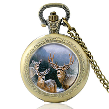 High Quality  Vintage Elk Glass Dome Quartz Pocket Watch Bronze Men Women Necklace Pendant Gifts