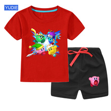 цена на Casual Kids Clothes 2 Piece Set Clothing Green Cool Boy T-shirt + Shorts Clothing Boys Tracksuit Children Baby Clothes
