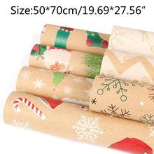 5pc Christmas Gift Wrapping Paper Cartoon Pattern Packing Paper Party Supplies 090C for party and wedding printing wrapping wax paper soap gift book waxed packing paper food grade rice paper