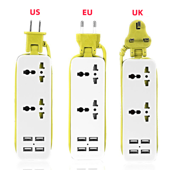цена на Portable Power Strip Travel Power Socket Outlet 2 Sockets EU/UK/US Plug with 4 USB 5V 2A Output Multi-Port USB Wall Charger