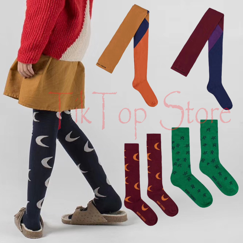 Baby Geometric Striped Tights Stockings Kids Long High Chaussettes For Toddlers Baby Girls Knitted Cotton Clothes 0-9 Y