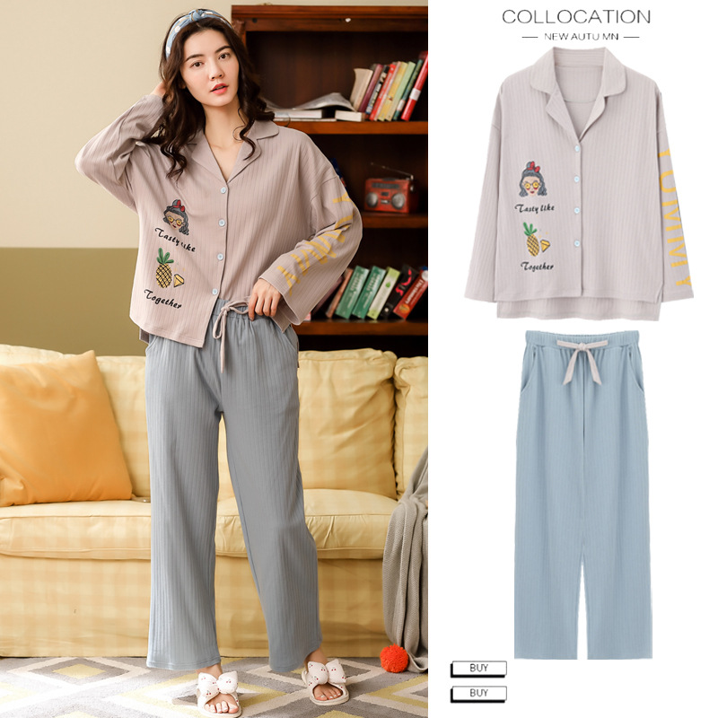 Cartoon Korean-style Pajamas Women's Autumn & Winter Pure Cotton Long Sleeve Korean-style Fresh And Lovely Japanese-style Cardig