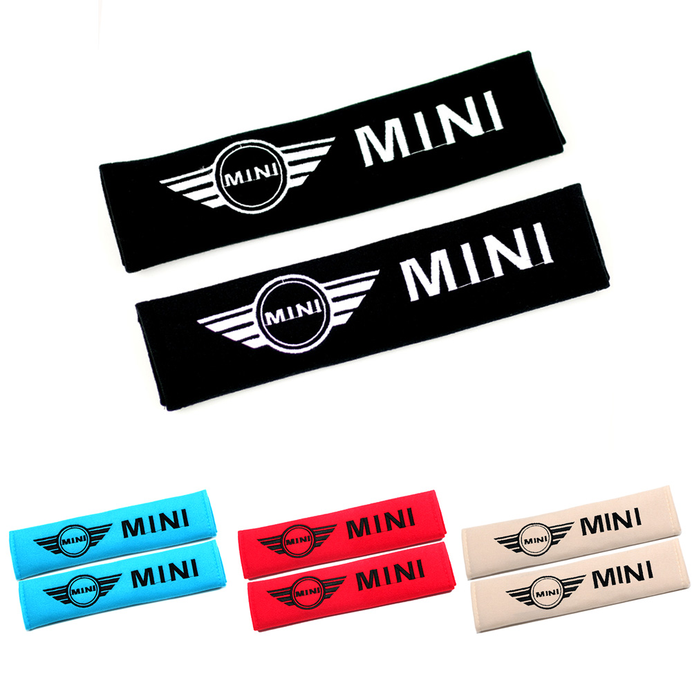 2x Seat Belt Cover Car Shoulder Pad Sleeve Seat Safety Belt Cover For MINI Cooper S JCW One + R56 R60 R61 F54 F55 F56 F60