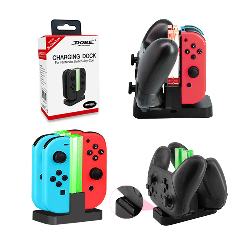 Charging Dock Stand With LED Indication To 2 Pro Controller Charger Or 4 Joy-Con Charger For Nintend Switch NS Switch Lite