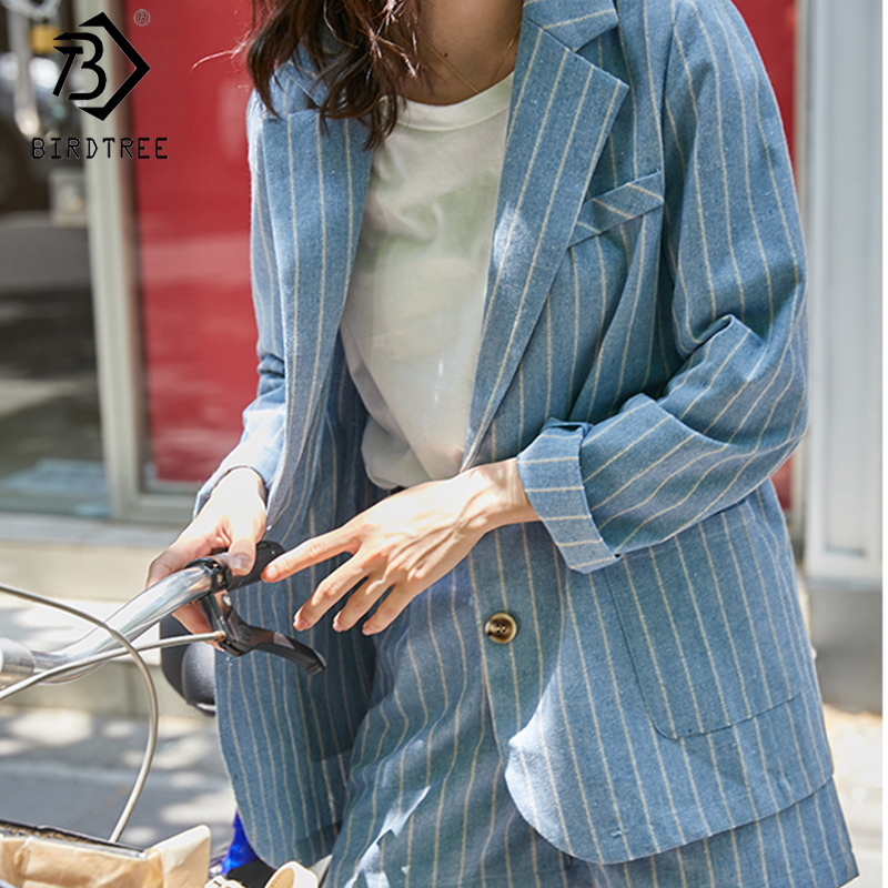2020 Spring New Women's Cotton And Linen Suits Two Pieces Set Fashion Notched Full Sleeve Blazer Tops And Short Pant S9D408K