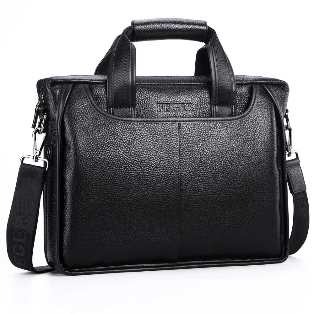 Männer Echte Leder Schulter Tasche Marke Männer Schulter Tasche Business Handtasche Laptop Aktentasche Männlichen Crossbody Messenger Taschen FEGER