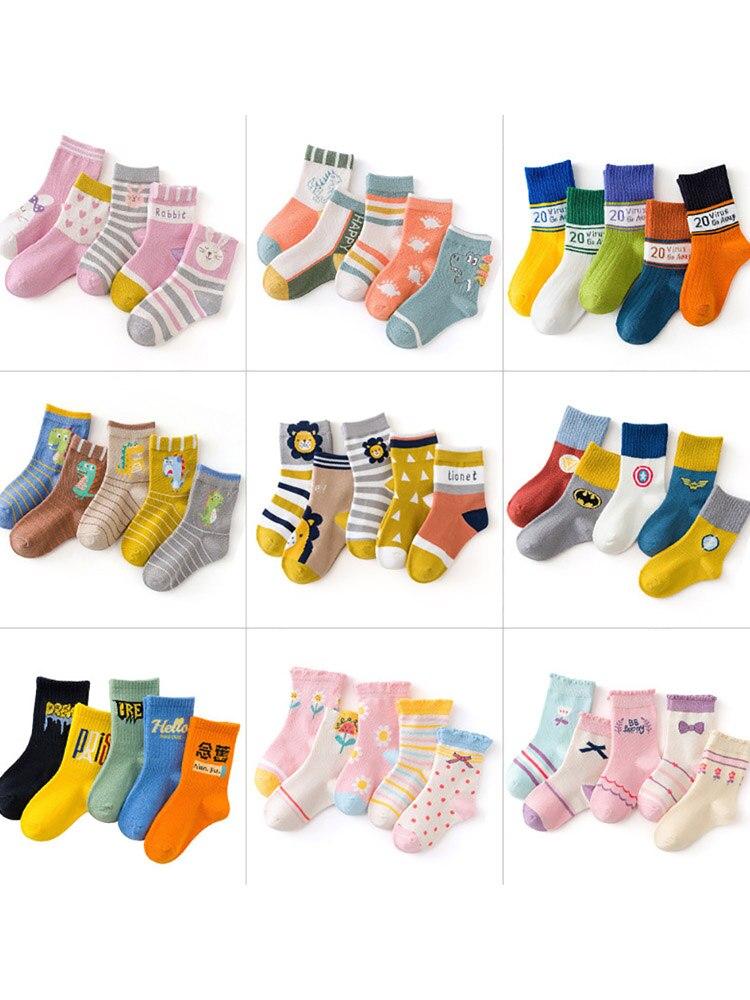 Kids Socks Print Baby Boys Winter Children Cotton Cartoon Cute 5-Pairs/Lot Autumn Comfortable
