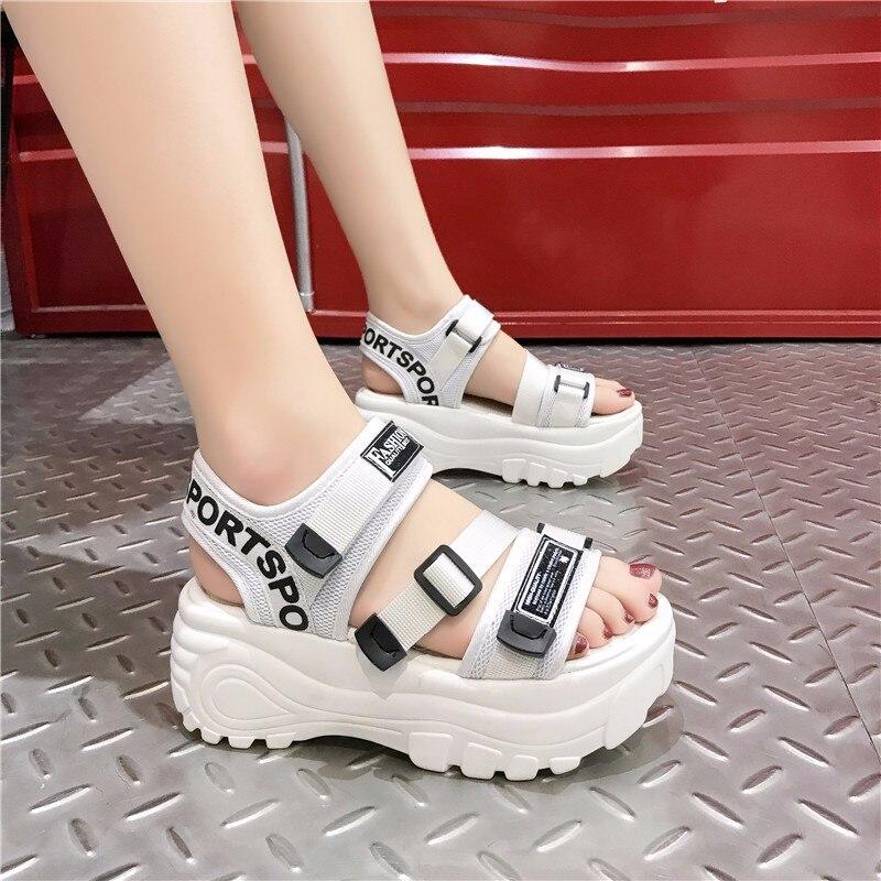Lucyever Women Summer Thick Bottom Shoes Casual High Platform Wedges Walk Shoes Woman Open Toe Comfortable Sport Sandals