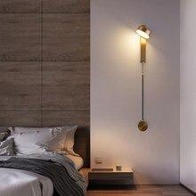 Lâmpadas de parede led para o quarto cabeceira rotação ouro moderno interior loft corredor da escada decoração interior arandela luminária