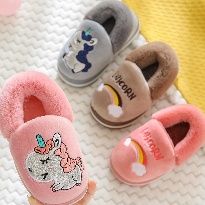 Children's Cotton Slippers 2019 New Winter Home Indoor Non-slip Warm Cute Cartoon Unicorn Cotton Shoes Girls Slippers