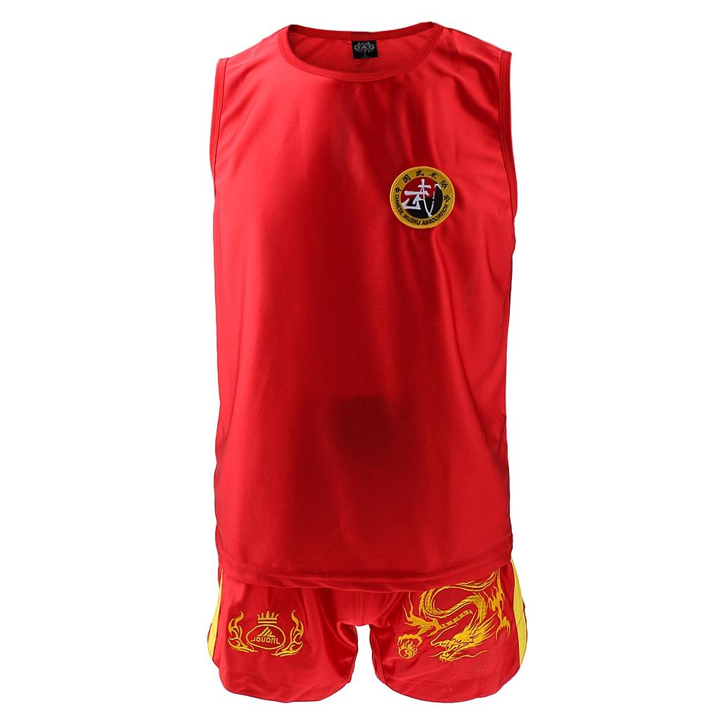 Thai Kick Boxing Uniform Chinese Style Sanda Combat Shorts Clothes Red L