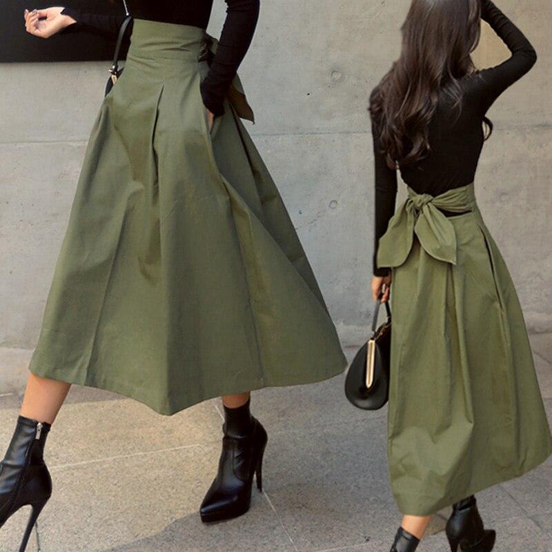 Женские юбки shintimes, корейская мода, однотонная женская юбка с большими качелями, длинная юбка, осень 2019, Уайлд высокая талия, Облегающие юбки с бантом|Юбки|   | АлиЭкспресс - Юбки