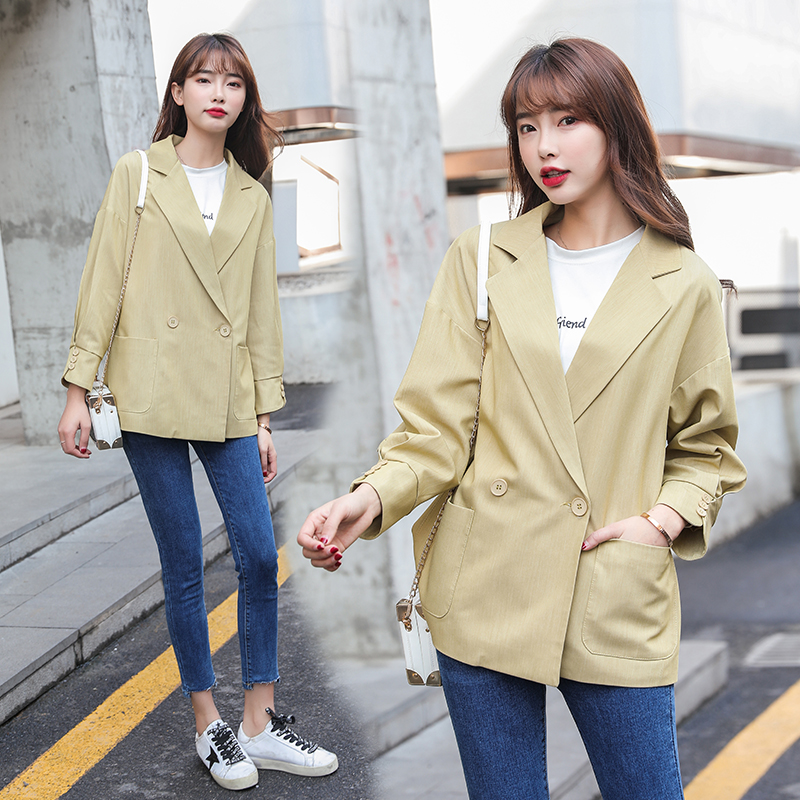 Brieuces 2020 new Women Solid Color Long Blazer Jacket Loose Coat Office Lady Work Style Small Suit Single Button Blazer