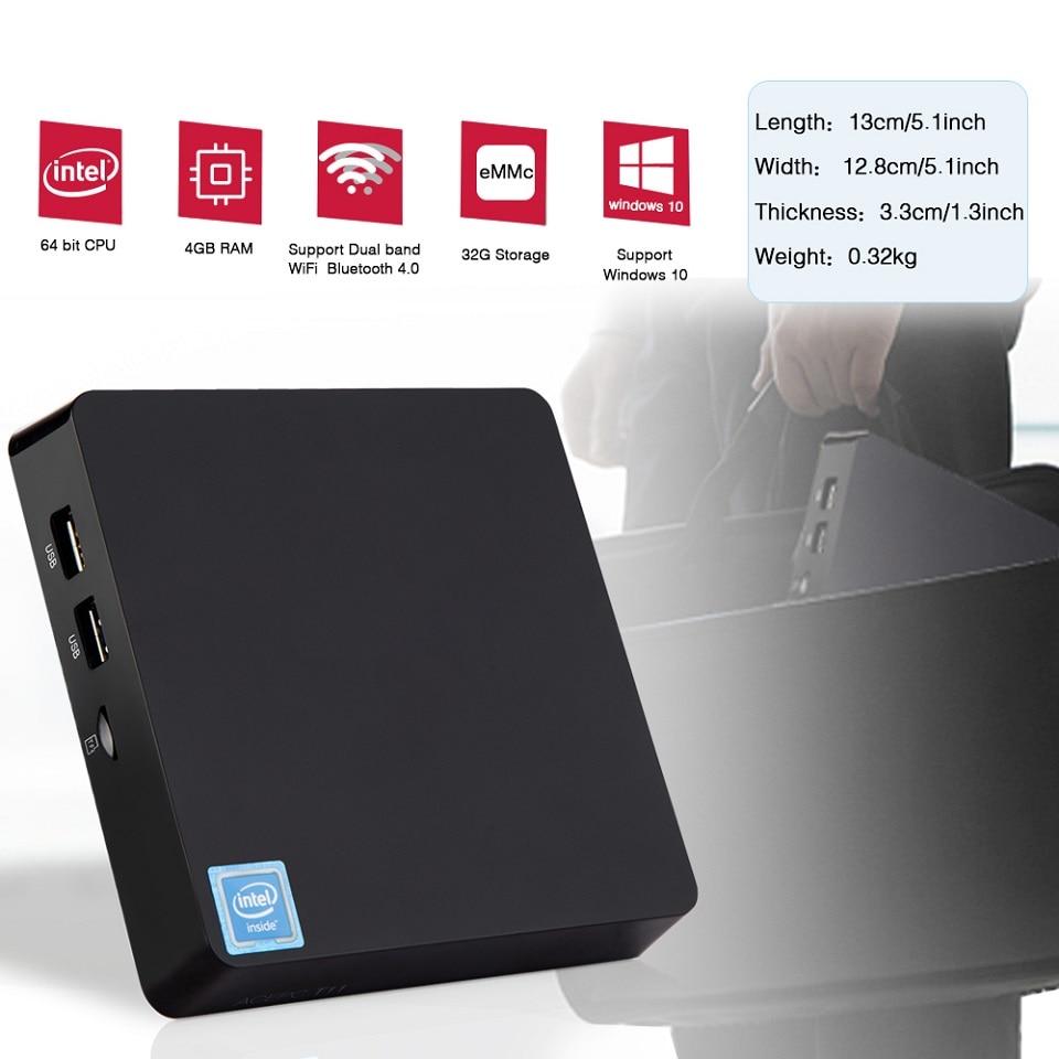 T11 Z8350 MINI PC Win10 Intel Atom Z8350 4GB 32/64GB RAM Linux HDMI VGA USB3.0 2.5 Inch HDD DDR3 Fanless Mini Computer Pocket PC