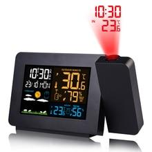 FanJu, цифровой будильник, метеостанция, светодиодный, температура, влажность, погода, погода, повтор, настольные часы с проекцией времени