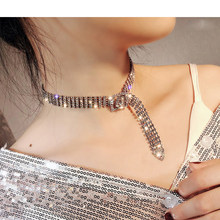 2019 luxury women's rhinestone Necklace female bright bride bling Shining diamond Crystal chain Chocker Collar Necklace Jewelry(China)
