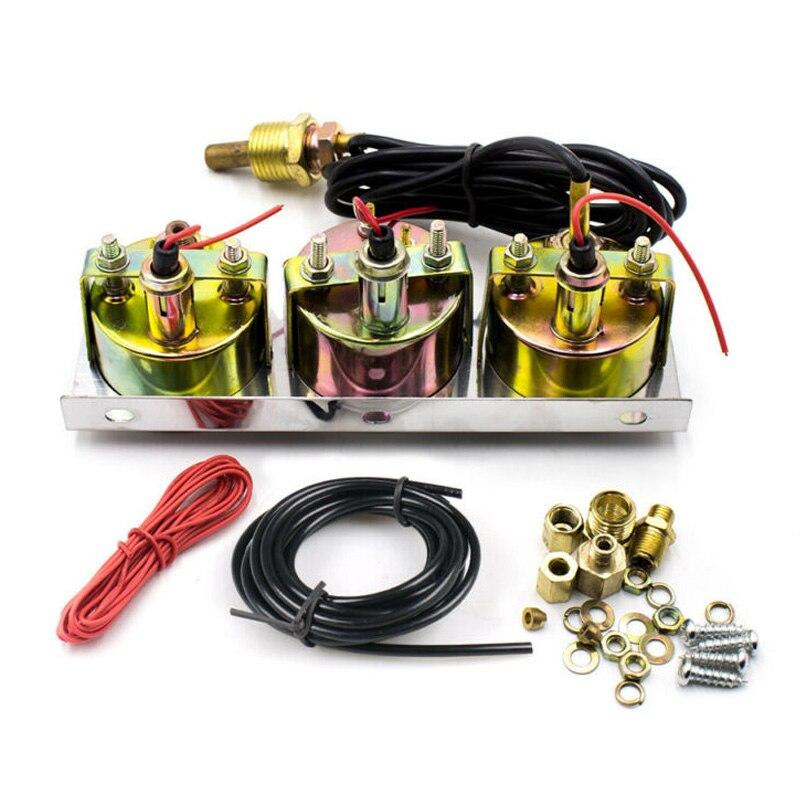 Тройные 2 гоночные Автомобильные приборы, комплект амперметр, давление воды и давление масла GUAGE