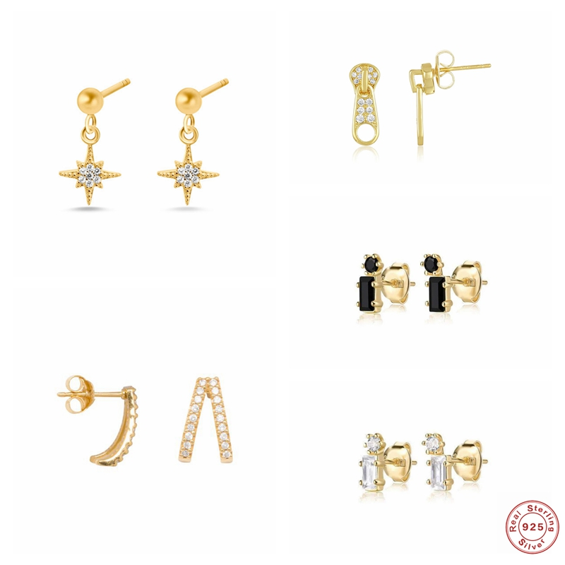 925 Sterling Silver Bling CZ Piercing Stud Earrings for Woman Lovers' Couples Luxury Puncture Pendientes Fine Earring Jewelry