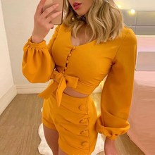 Autumn Womens Casual Two Piece Outfits V Neck Lace Up Crop Top  High Waist Solid Shorts Beach Set