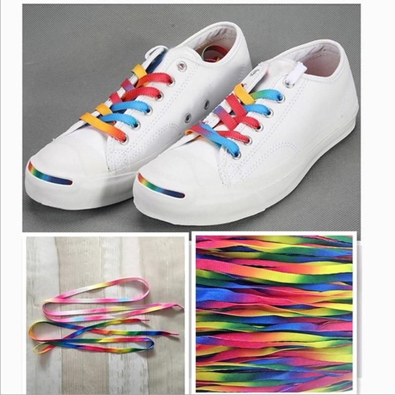1Pair Colorful Laces Rainbow Gradient Print Flat Canvas Shoe Lace Shoes Casual Chromatic Colour Shoelaces 80CM/100CM/120CM