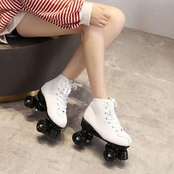 Zapatos de cuero Artificial para hombre y mujer, Patines de ruedas de 4 ruedas