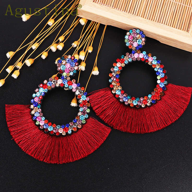 Agustina Tassel Earrings For Women Fashion Drop Earrings Jewelry   Earrings Punk Rhinestone red Earring Bohemian Round Earings