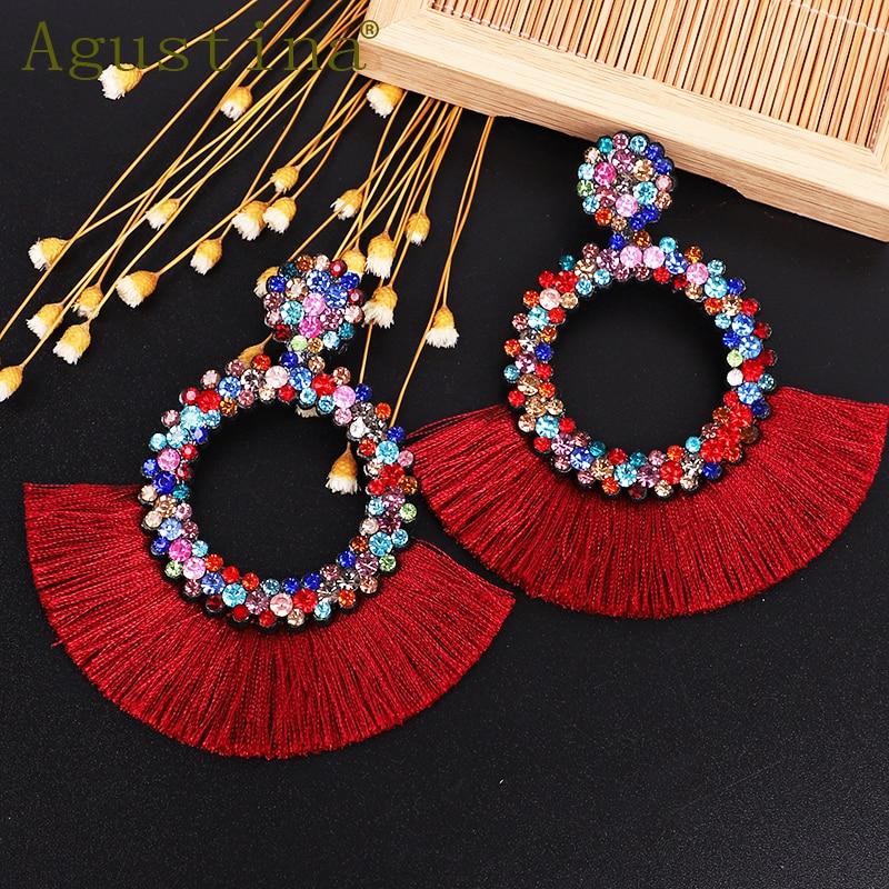 Agustina Tassel Earrings For Women Fashion Drop Earrings Jewelry  Earrings Punk Rhinestone red Earring Bohemian Round Earings