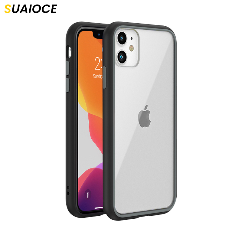 SUAIOCE Clear Case For iPhone 11 Pro X XS Max XR Transparent Shock-proof Back Protective Cover For iPhone SE 2020 7 8 Plus Case