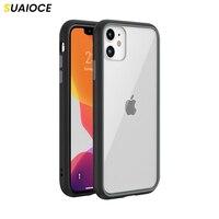 SUAIOCE-funda transparente a prueba de golpes para iPhone, carcasa protectora trasera a prueba de golpes para iPhone 11 Pro X XS Max XR SE 2020 7 8 Plus