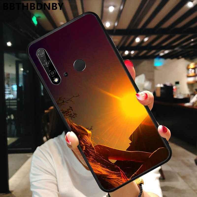 สำหรับ Dusk สาวสมาร์ทสีดำโทรศัพท์กรณีเปลือกนุ่มสำหรับ Huawei P10 Lite P20 Pro Lite P30 Pro Lite psmart Mate 20 Pro Lite
