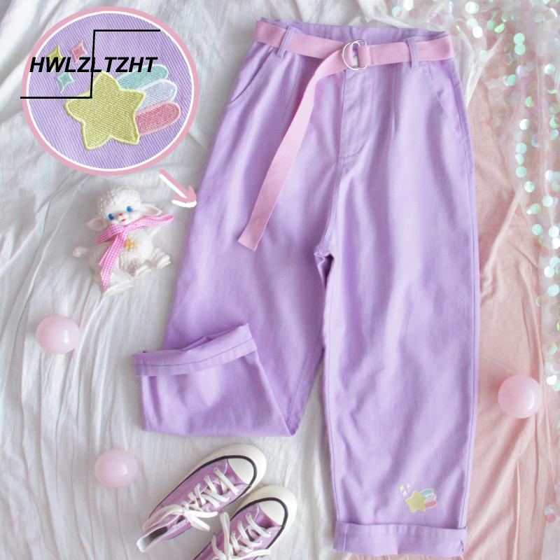 Harajuku Cartoon Embroidery Denim Pants Women Japanese High Waist Vintage Purple Pants Korean Kawaii Girls Wide Leg Trousers