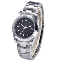 Watch Men Black Face Automatic Mechanical Free Shipping Fashion Luminous Hands 39mm Solid 316L Steel Case And Bracelet R0
