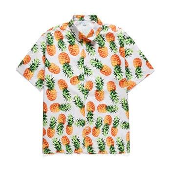 2020 Holiday Hawaiian shirt Men New Fashion Casual Beach Seaside Summer Shirts For Men Fruit Pineapple Print Blouse Top Clothes 4