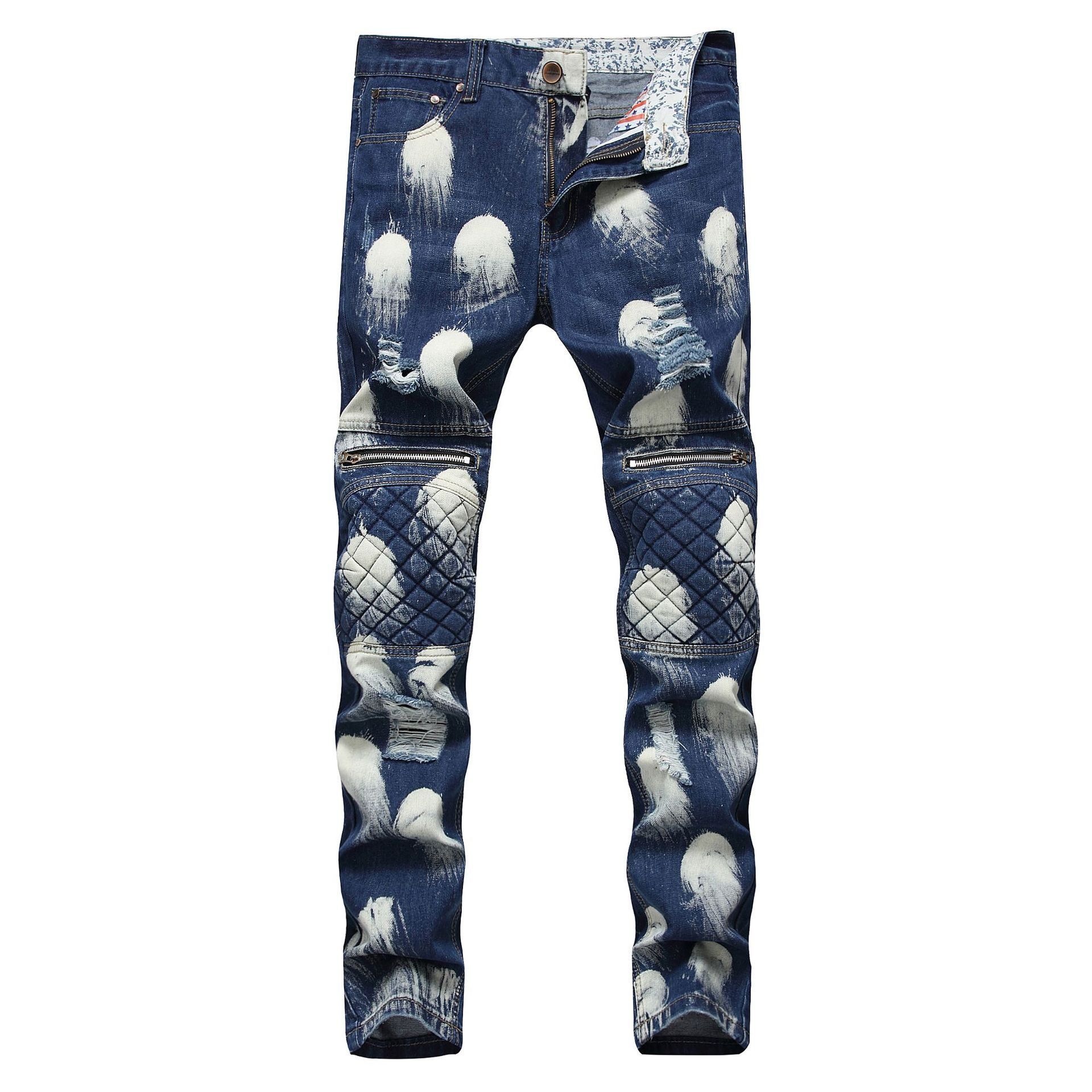 Men 39 s Jeans Europe and America Style Hole Fashion Trends Folded Snowflakes Zipper Decoration Motorcycle Pants in Jeans from Men 39 s Clothing