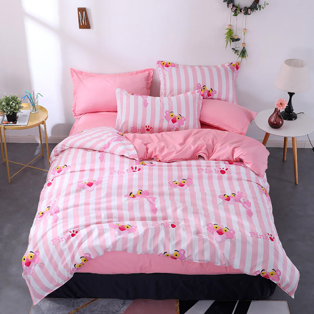 Thumbedding Pink Panther Bedding Set Cartoon Fashionable Girls Duvet Cover Queen King Full Twin Single Unique Design Bed Set