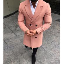 Mężczyzna trencz nowy projektant mody męski długi płaszcz jesień zima dwurzędowy wiatroszczelna wąska trencz płaszcz mężczyźni Plus rozmiar 3XL tanie tanio HEFLASHOR Pełna Stałe Podwójne piersi Skręcić w dół kołnierz REGULAR woolen coat men NONE Suknem Poliester Konwencjonalne