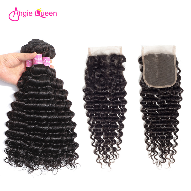 ANGIE QUEEN Deep Wave Human Hair Bundles With Closure Indian Hair Deep Wave Weaves Bundles With Closure Remy Virgin Hair