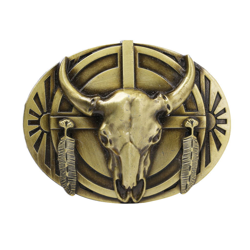 Men Belt Buckles 3D Punk Bull Head Antique Clothing Accessories Cool American Flag Belt Buckle