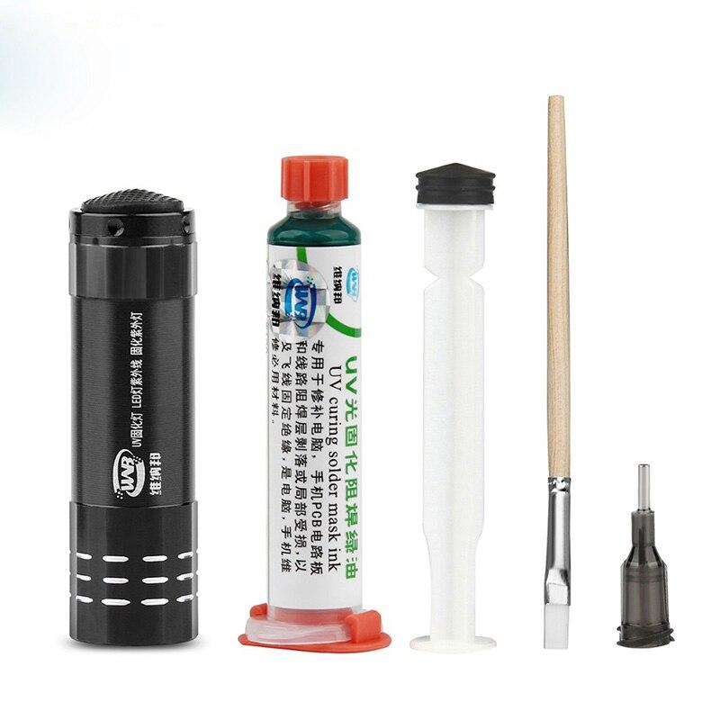 10CC Green UV Curable Solder Mask Ink PCB Paint Prevent Corrosive Arcing UV Photosensitive Soldering Paste Flux Oil Set