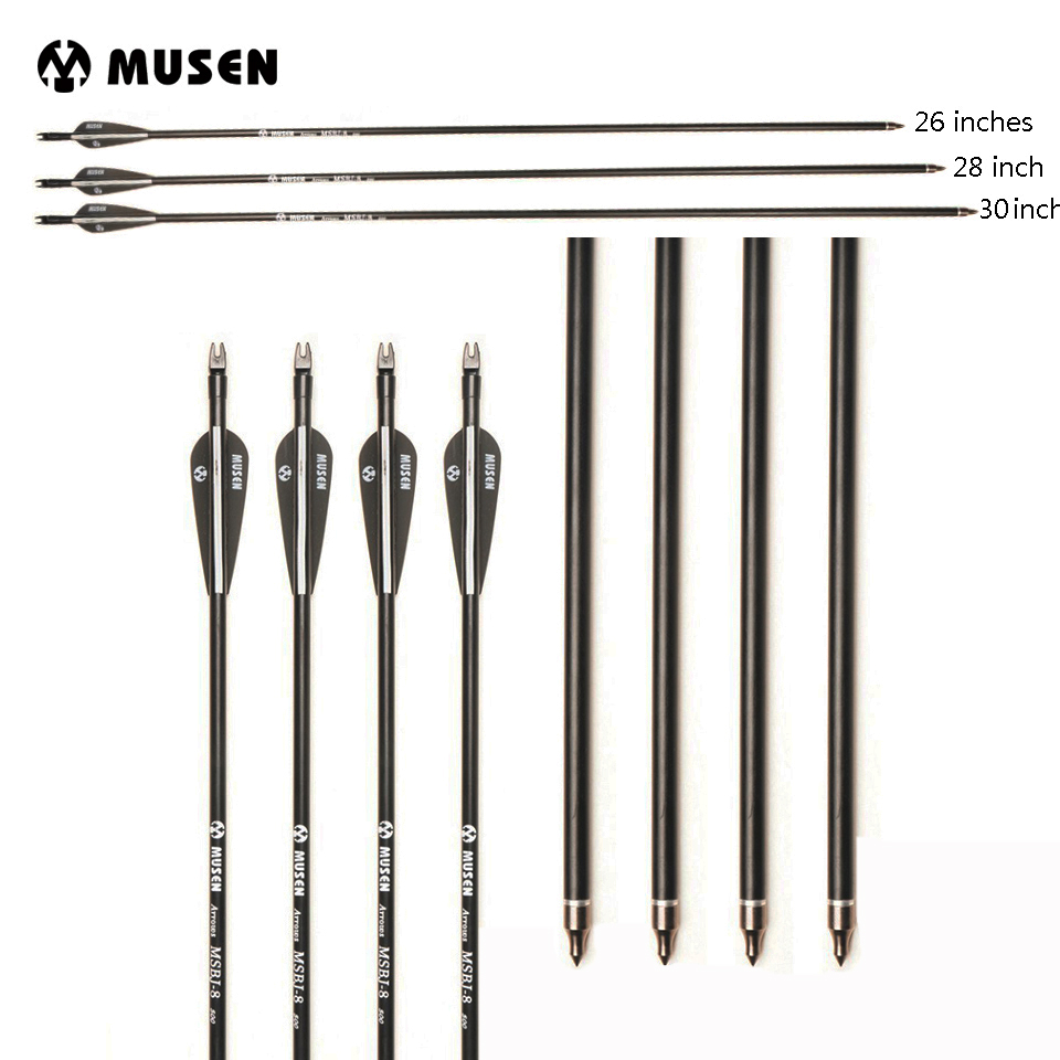 US 26/28/30 Inches Fiberglass Arrow Spine 500 Diameter 8mm Replaceable Tip For Recurve/Compound Bow Archery Hunting Shooting
