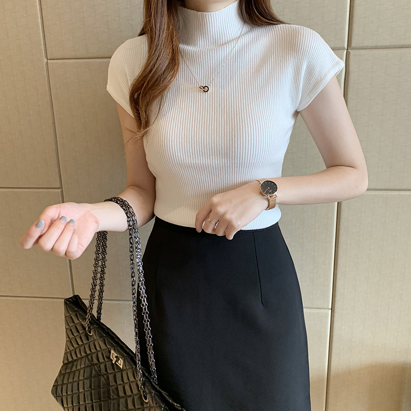 HELIAR Women Knitted T-shirts Turnelneck Tees Plain Tops Solid Knitted Short Sleeve Casual O-neck T-Shirts For Women Summer Tops 5
