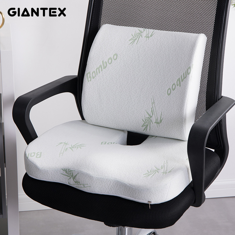 GIANTEX 2 In1 Bamboo Fiber Memory Foam Seat Cushion Back Cushion Slow Rebound Waist Support Set For Office Health Care Chair Pad