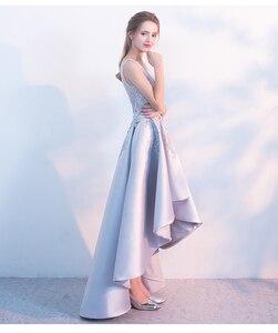 Image 4 - Liquidação banquete elegante cinza cetim vestido de noite alta/baixo curto frente longa volta rendas apliques formal festa vestido