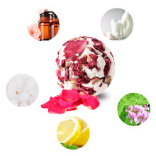 Skin Care Exfoliating Shower Gift Dried Flower Essential Salt Fragrant Deep Clean Massage Bath Ball Soothing Rose Petals Milk(China)