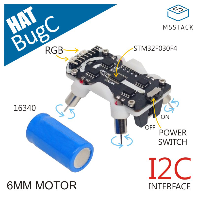 M5Stack BugC Programmable Robot Base Compatible With the M5StickC  STM32F030F4 Micro Controller