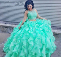 Mint Green Two Pieces Quinceanera Dress Princess Cascading Puffy Sweet 16 Ages Long Girls Prom Party Pageant Gown Plus Size
