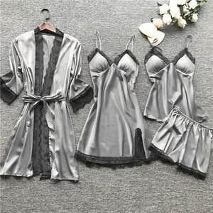 New Women Pajamas Sets Satin Sleepwear Silk 4 Pieces Nightwear Pyjama Spaghetti Strap Lace Sleep Lounge Pijama With Chest Pads