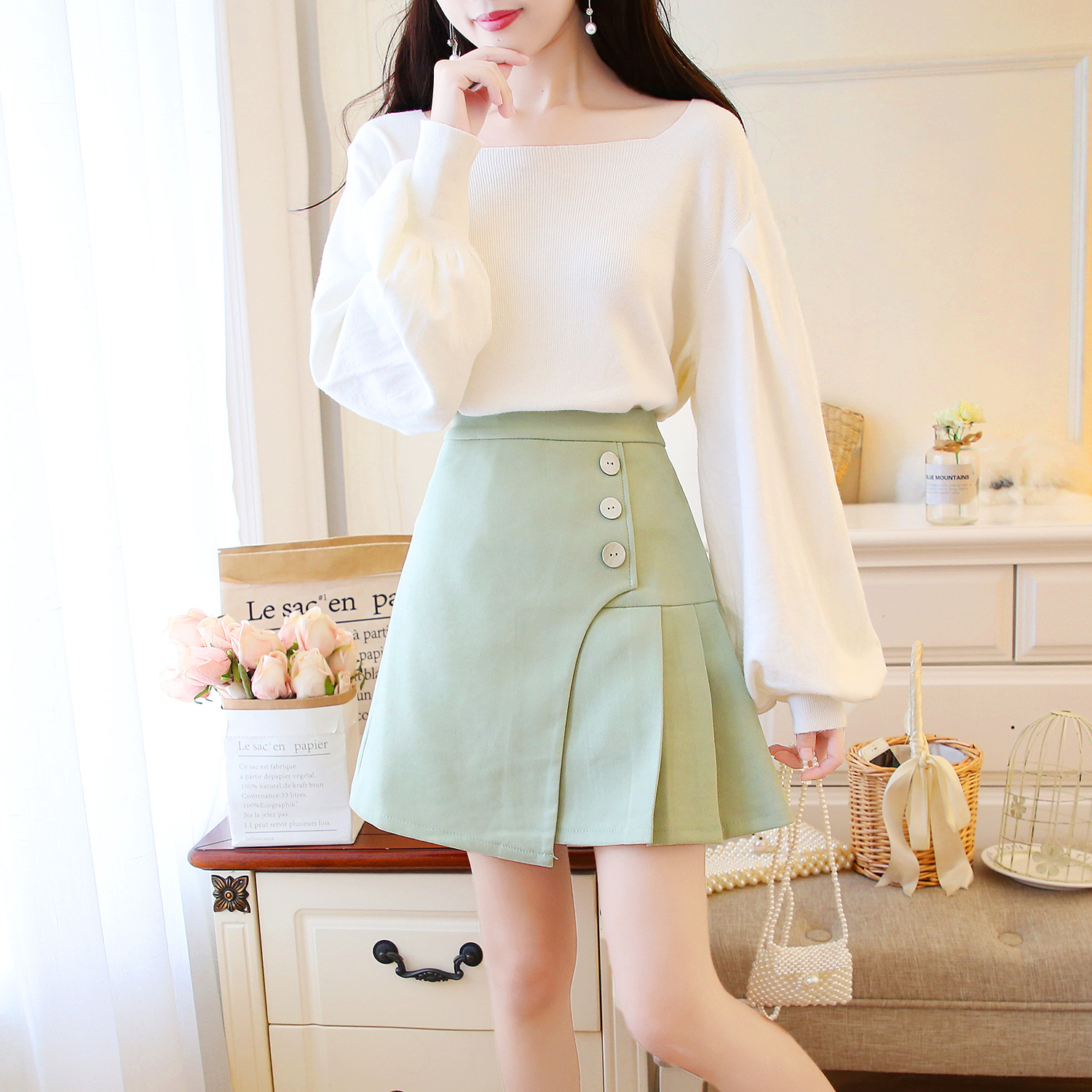 Puff Sleeve Casual Loose-Fit Pullover Sweater + Avocado Green Pleated Skirt Set Two-Piece Set