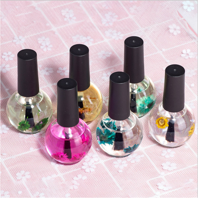 1 Bottle Nail Nutrition Oil 15ml Dried Flowers Softener Remover Nail Cuticle Protector Oil 6 Flavors Nail Art Care Tools