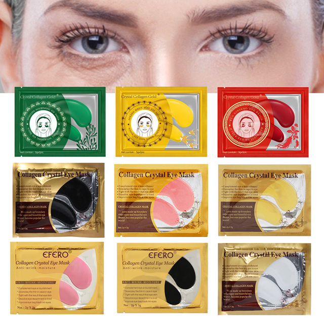 10pcs=5pair Eye Mask Crystal Collagen Gold Masks Eye Patches Dark Circles Anti Aging Moisturizing Eye Pads Gel Sleep Patches 1
